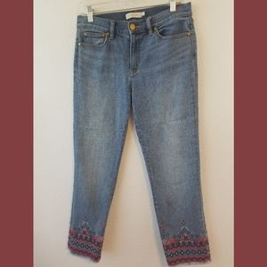 Tory Burch Embroidered Cuff Crop Jeans Sz 26